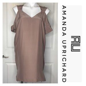 Amanda Uprichard Blake Cold Shoulder Dress Taupe